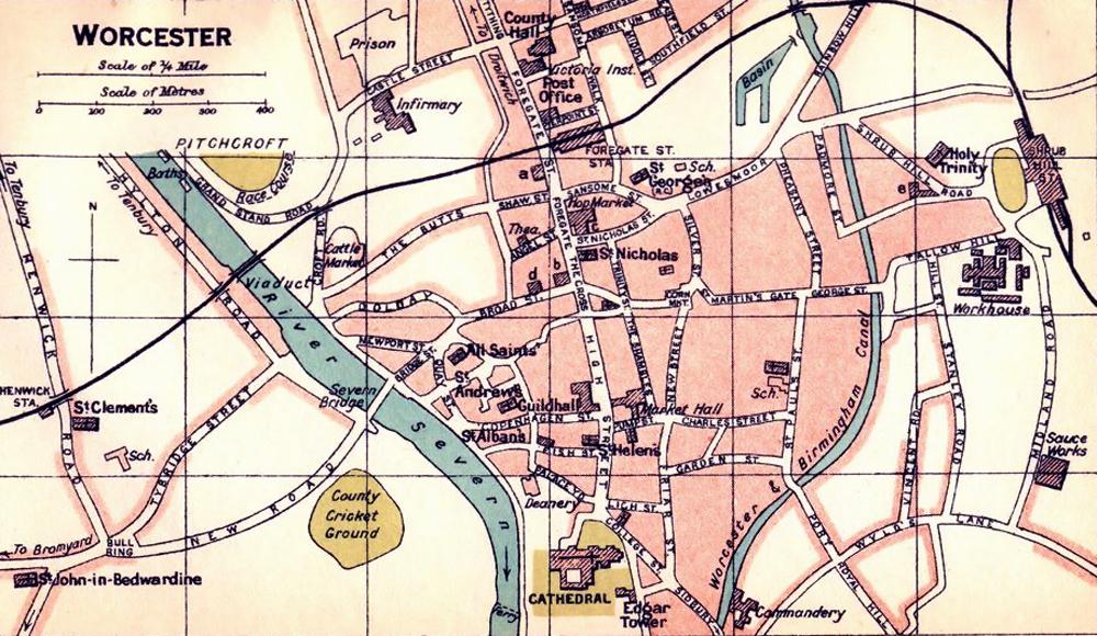 Worcester : Town Plan by John Bartholomew & Son [1924]