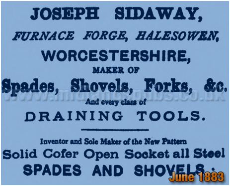 Advertisement for Joseph Sidaway's Spade and Shovel Factory at Furnace Forge [1883]