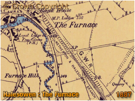 Halesowen : Map Showing the location of Hales Furnace and The Loyal Lodge [1887]