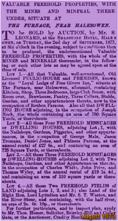 Halesowen : Sale of the Loyal Lodge of Free Givers Inn at Furnace Hill [1873]