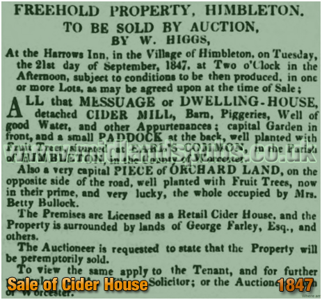Himbleton : Auction of Cider House held at the Harrow Inn [1847]