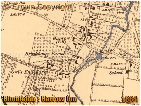 Map showing the location of the Harrow Inn at Himbleton in Worcestershire [1884]