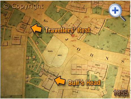 Netherton : Map showing the location of the Travellers' Rest on St. John's Street [1855]