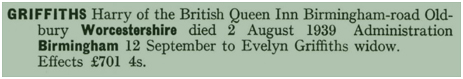 Oldbury : Will of Harry Griffiths of the British Queen [1939]
