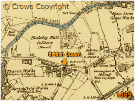 Oldbury : Map Showing British Queen and Blakeley Hall Colliery [1889]