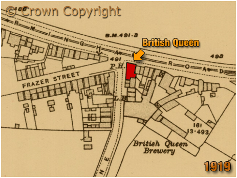 Oldbury : Map Showing the British Queen and Brewery [1919]