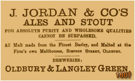 Oldbury : Advertisement by Jordan & Co. Brewery [1907]
