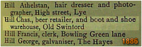 Oldswinford : Charles Hill beer retailer and shoe warehouse [18860]