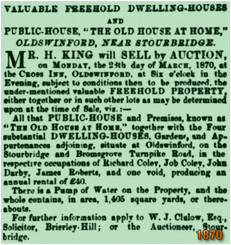 Oldswinford : Sale of the Old House at Home [1870]