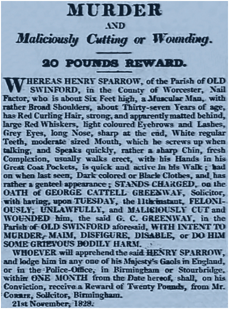 Oldswinford : Wanted Notice for Henry Sparrow [1828]