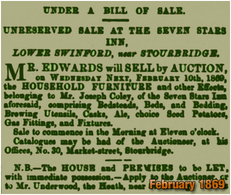Oldswinford : Sale of the Household Furniture of the Seven Stars Inn [1869]