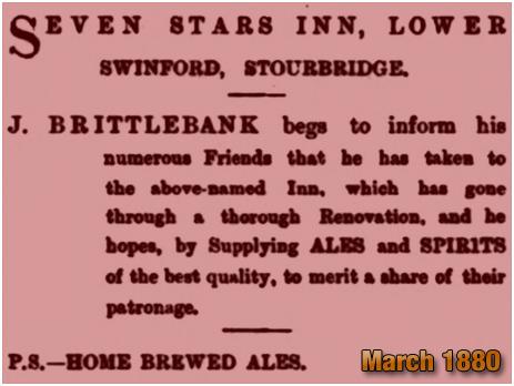Oldswinford : Advertisement for the Seven Stars Inn by Joseph Brittlebank [1880]