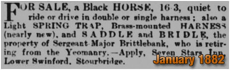 Oldswinford : Sale of a horse owned by Joseph Brittlebank of the Seven Stars Inn [1882]