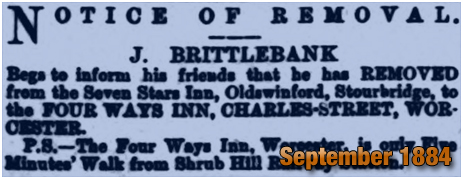 Oldswinford : Notice of Joseph Brittlebank's removal from the Seven Stars Inn [1884]