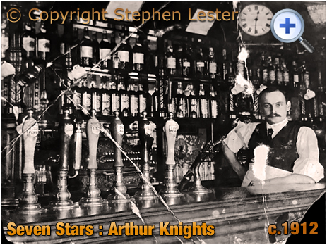 Oldswinford : Publican Arthur Knights behind the servery of the Seven Stars Hotel [c.1912