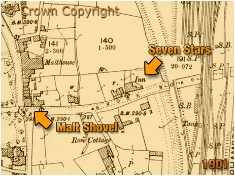 Oldswinford : Map extract showing the location of the Seven Stars Inn [1901]