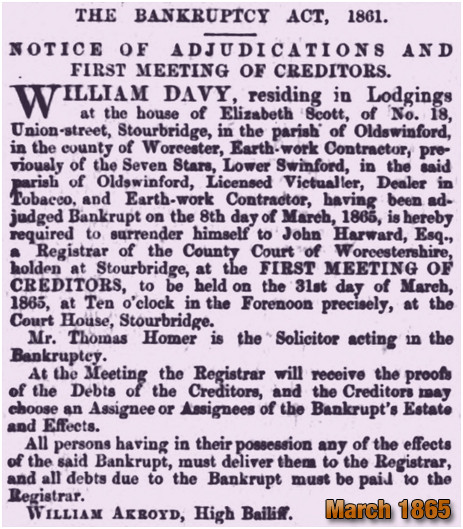 Oldswinford : Bankruptcy Notice for William Davy [1865]