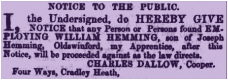 Cradley Heath : Notice by Charles Dallow