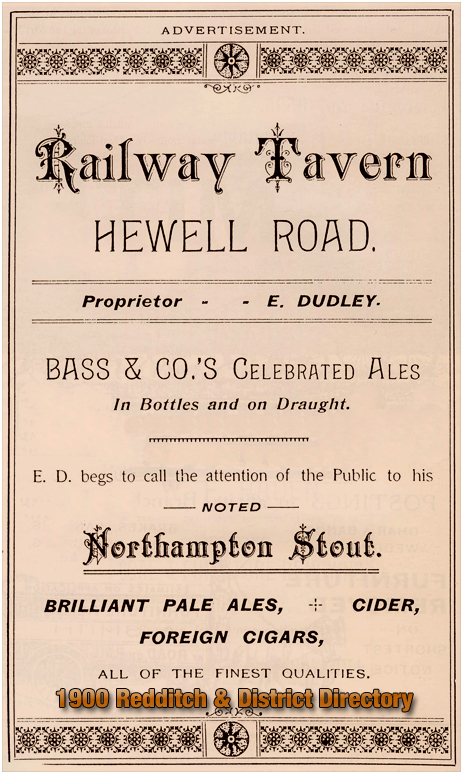 Advertisement for the Railway Tavern in the Redditch & District Directory [1900]