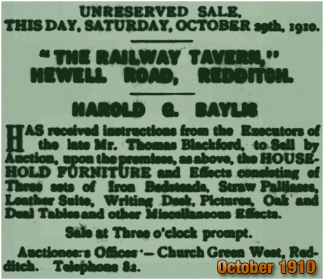 Sale of Household Furniture at the Railway Tavern [1910]