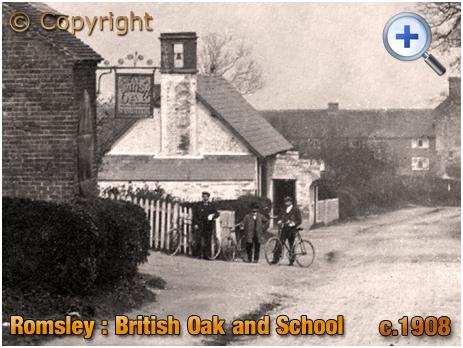 Romsley : Cyclists outside the British Oak [c.1908]