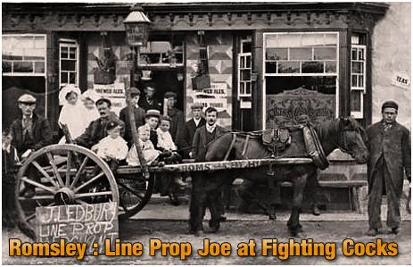 Romsley : Line Prop Joe outside the Fighting Cocks [c.1920]