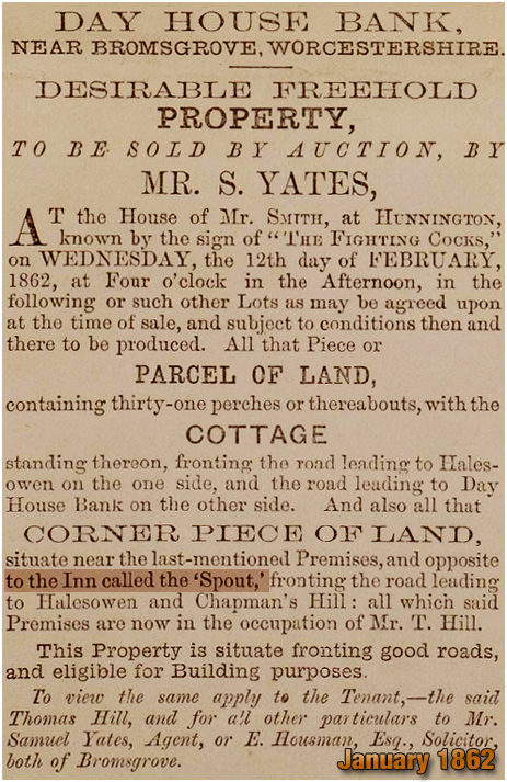 Romsley : Auction of Land and Cottage at Dayhouse Bank [1862]