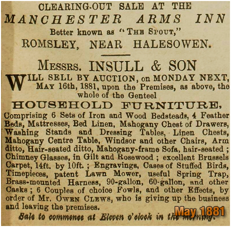 Romsley : Clearance Sale of Household Furniture at the Manchester Inn [1881]