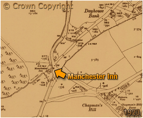 Romsley : Map extract showing the location of the Manchester Inn at Dayhouse Bank [1923]