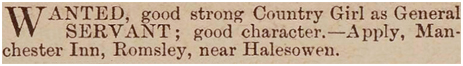 Romsley : Advertisement for Servant Girl for the Manchester Inn at Dayhouse Bank [1889]