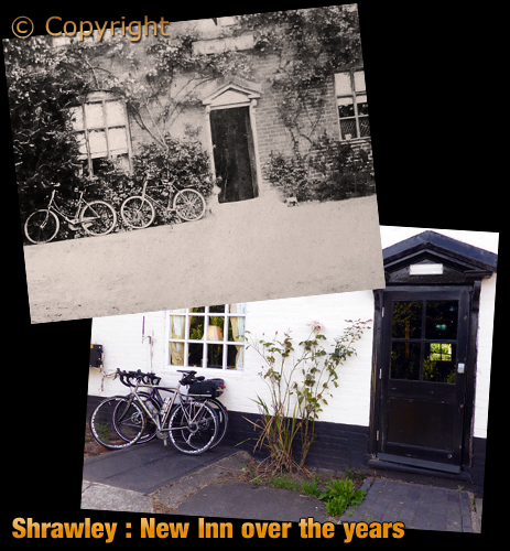 Shrawley : Bicycles at the New Inn [c.1907 and September 2019]