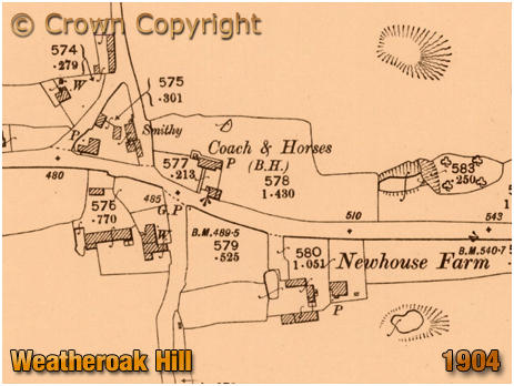 Weatheroak Hill : Map extract showing the Coach and Horses [1904]