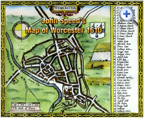 Worcester : 1610 Map by John Speed [1610]