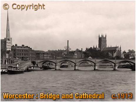 Worcester : Cathedral and Bridge [c.1913]
