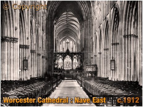 Worcester Cathedral : Nave East [c.1912]