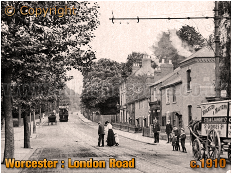 Worcester : Tram on London Road [c.1910]