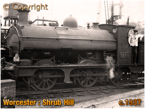 Worcester : Locomotive at Shrub Hill [c.1937]