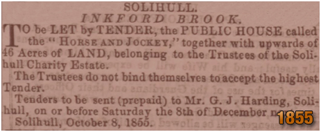 Inkford Brook : Advertisement for lease of the Horse and Jockey [1855]