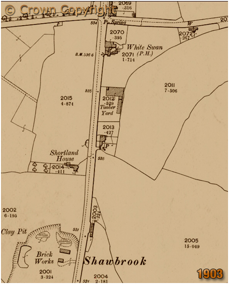 Wythall : Map showing the White Swan at Drake's Cross and Shawbrook to the south [1903]